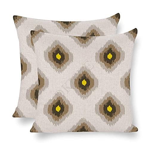 DKISEE Paquete de 2 fundas de almohada decorativas Ikat con estampado geométrico sin costuras blancas y marrones de 45 x 45 cm, funda de almohada de lino de algodón - ofrogz0vvwcg