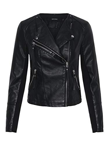 Vero Moda Vmria FAV Short Faux Leather Jacket Noos Chaqueta, Negro (Black Black), 40 (Talla del fabricante: Medium) para Mujer