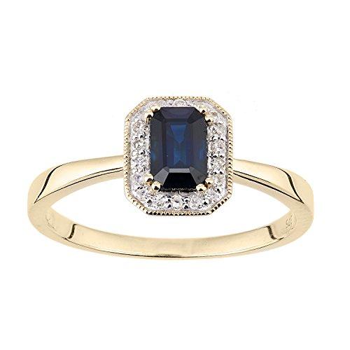 Naava Women's 9ct Yellow Gold Diamond and Sapphire Gemstone Rectangle Cut Ring - Size O