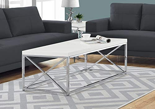 Best Monarch Specialties Modern Coffee Table for Living Room Center Table with Metal Frame, 44 Inch L, Gl