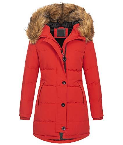 Rock Creek Damen Winter Jacke Mantel Kunstfellkragen Steppmantel Winterjacke Damenjacke Outdoorjacke Kapuze Fellkragen gesteppt D-429 Rot M