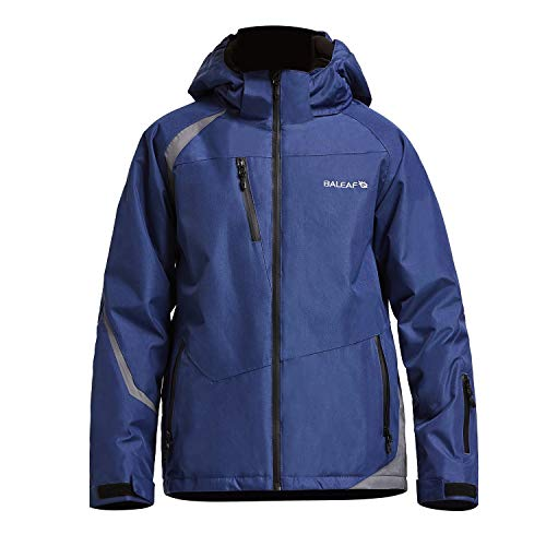 Baleaf Boy's Ski Jacket Waterproof Breathable Kids Fleece Lined Windproof Hooded Snowboard Coat Dark Blue Size XL