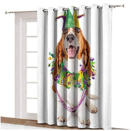 Mardi Gras - Cortinas opacas para puerta de patio, diseño de perro con un sombrero de bufón, collar de cuentas decorativas, paneles impresos, panel individual de 254 x 213 cm, para correderas