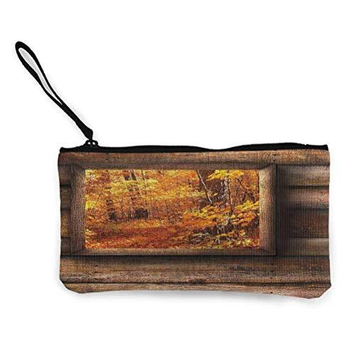 Automne Zipper Coin Pouch Zipper Storage Case Cosmetic Bags Cabine Rustique avec Tracteur
