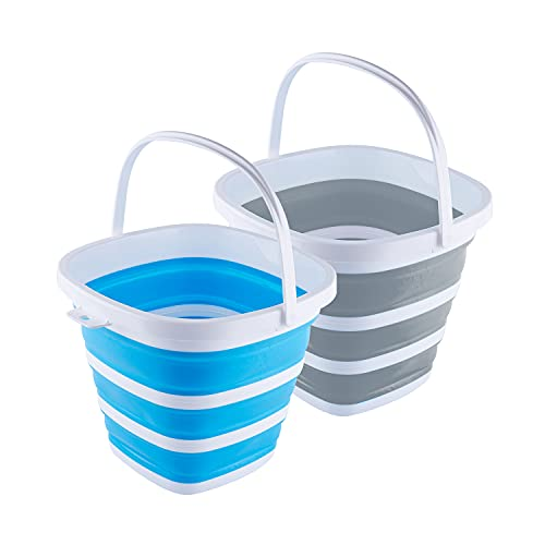 Collapsible Plastic Bucket with Handle - 2.6 Gallon (10L) Portable Cleaning Bucket Foldable Water Tub for Household Car Wash - Space Saving Outdoor Fishing, Garden, Camping Water Pail, 2 Pack