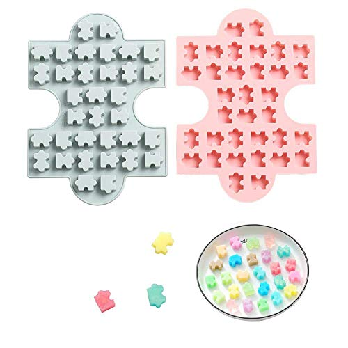 2Pcs Puzzle Piece Silicone Candy Molds, Puzzle Crayons Maker Silicone Puzzle Mold for Chocolate Gummy Fat Bombs Wax Samples Epoxy Resin Ice Cube Trays