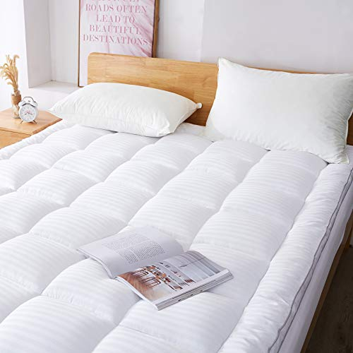 """WhatsBedding Mattress Pad Cover Queen Extra Thick 100% Cotton Top Pillow Mattress Topper with Down Alternative Filled (8-21"""" Fitted Deep Pocket )"""