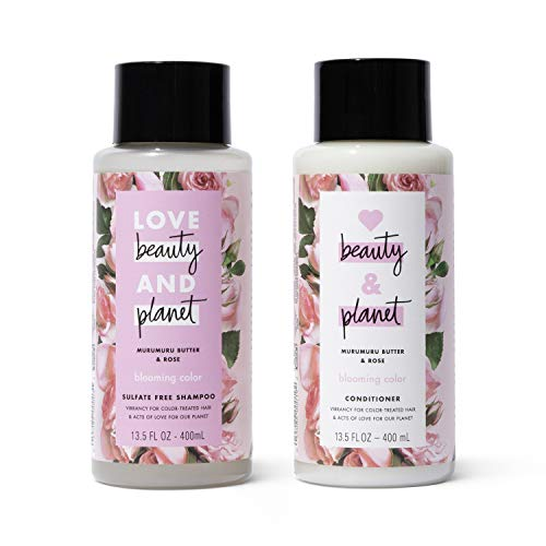 Love Beauty & Planet Rose Shampoo and Conditioner for Color Treated Hair, Silicone Free, Paraben Free and Vegan, 13.5 oz, 2 count