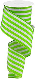 Vertical Stripe Wired Edge Ribbon - 10 Yards (Lime Green, 2.5
