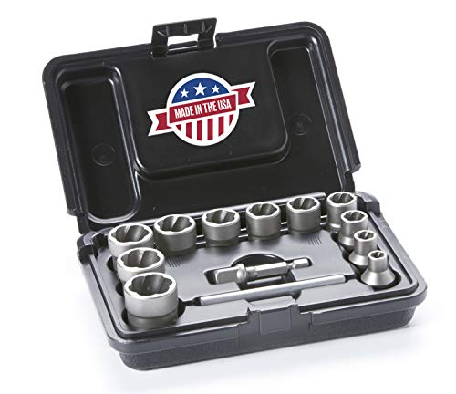 ROCKETSOCKET | Made in USA | Extraction Socket Set | Remove Damaged, Frozen, Rusted, Rounded-Off Bolts, Nuts & Screws | 13 Pieces, Impact Grade | 100% American Steel