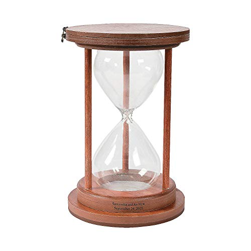 Fun Express Personalized Unity Sand Ceremony Hourglass for Wedding - Glass with Wooden Frame - Home Decor
