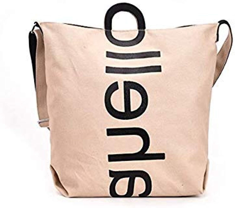 Bloomerang TTOU Women Casual Handbag Letter Printing Shoulder Bag Female Large Capacity Shopping Bag Canvas Tote Bag color Khaki 40x33x14cm