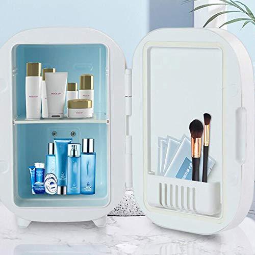 El Coche De Refrigerador, Maquillaje Nevera con Espejo LED, Mini Refrigerador del Refrigerador/For Cosméticos para Maquillaje Y Cuidado La Piel, Casa Bar