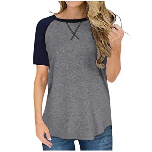LHWY Mujer Camiseta Blusa De Moda Blusa Casual De Manga Corta con Bloque De Color Blusa Tops tee T-Shirt (Gris L)