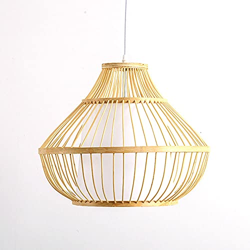 LIWENGZ Araña De Pantalla Mimbre Retro Creativa Lámpara Colgante Tejido De Bambú Tejido A Mano Lámpara Moderna Y Sencilla Lámpara De La Decoración De La Sala De Estar Del Pasillo Del Portalámparas E27