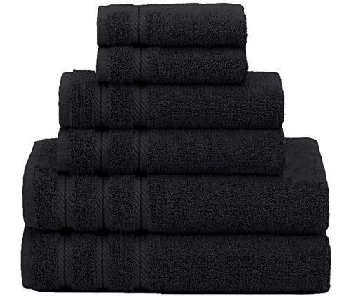 CASA COPENHAGEN Bella Egipcio algodón 600g/m², Sala de baños, Mano y servilleta / Toallas Junto (Negro Oscuro) 6 Piezas