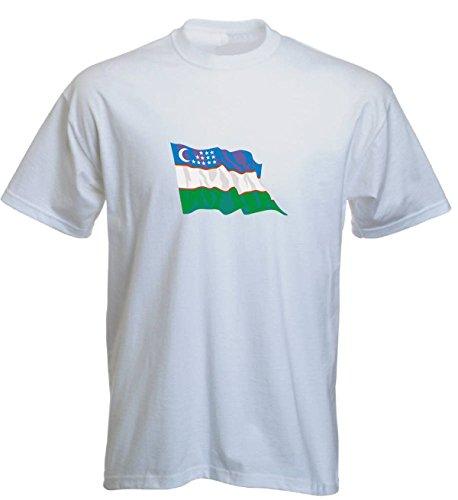 T-Shirt für Fußball LS193 Ländershirt M Mehrfarbig Uzbekistan - Usbekistan Fahne/Flagge - Fanshirt - Fasching - Geschenk - Fasching - Sportshirt Weiss