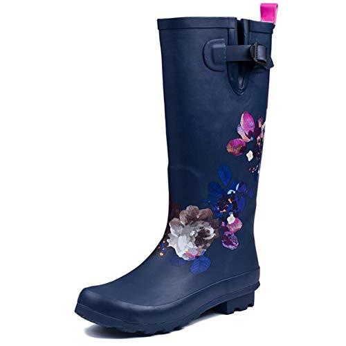JonoFono Moda Botas Rain Rodilla Mujer Floral Wellington Boots Caucho Impermeable Outdoor Boots Antideslizante Zapatos de Jardín Wide Calf Navy Talla 39 Asian