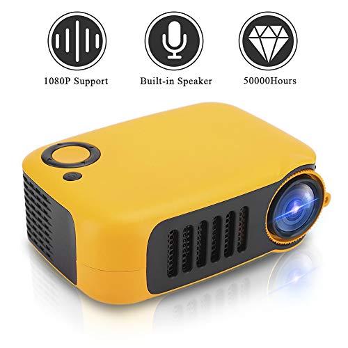 Video Beamer Goedkope, draagbare thuisbioscoopprojector Mini Beamer Ondersteunt 1080P met contrast: 1000: 1, 14-100 inch projectie voor het bekijken van video's, films(EU oranje zwart)