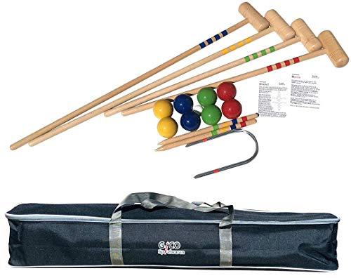 GICO KROBOC XL - Qualitäts Krocket und Boccia Spiel in Einem - 2 Spiele in 1: Der Garten Spielspaß als Kombiversion mit 2 Schlägerlängen incl. Transporttasche -Made in EU-3109