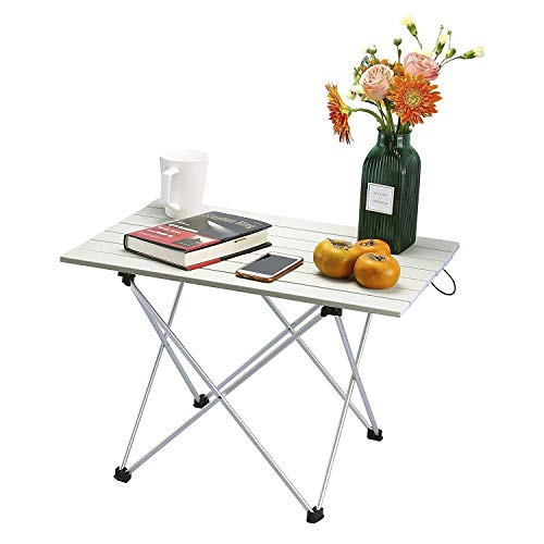 Afinder Small Camping Table 45 x 56 cm Folding Garden Table Work Table Folding Table Balcony Table Aluminium Table with Carry Bag for Camping Outdoor Hiking Fishing Picnic BBQ, grey