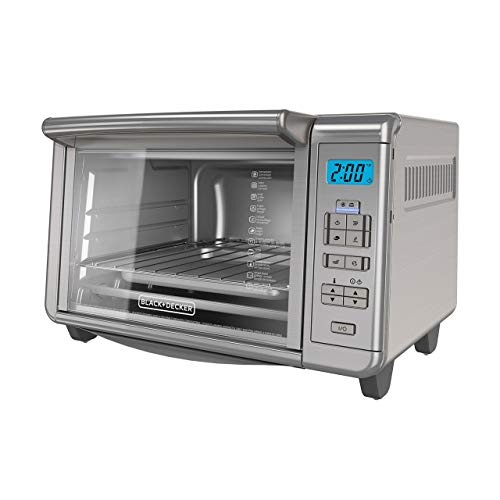 BLACK+DECKER 6-Slice Digital Convection Countertop Toaster Oven, Stainless Steel, TO3280SSD (Renewed)