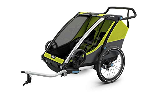 RennMaxe : Thule Chariot Cab Multisport Anhänger - Chartreuse - Sitzplätze: 2 - inkl Sicherheitswimpel - Kinderanhänger Fahrradanhänger