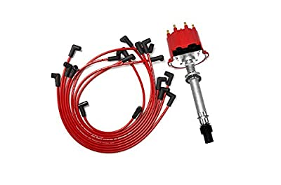 A-Team Performance SBC BBC EFI TBI Distributor and Spark Plug Wires Compatible With GMC CHEVY 1987-1997 5.0L 5.7L C/K Pickup Truck Van Camaro 305 350 HEI652R Red Cap 2-in-1 Kit