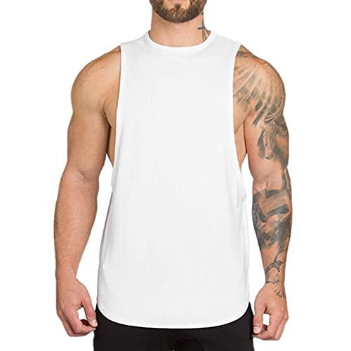 Tank Tops Hombres Verano Casual Fitness Mens Color Sólido Camisa Chaleco Largo, blanco, L