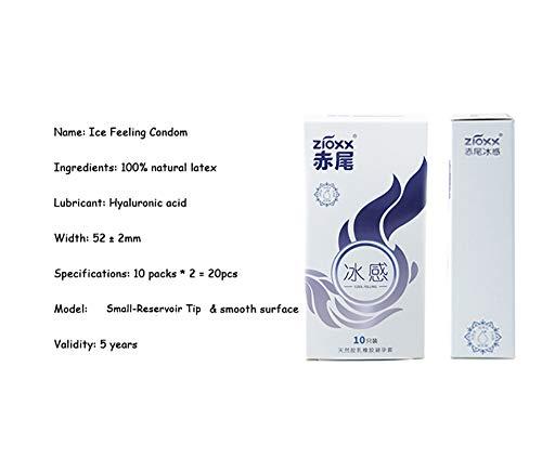 Kondome Bareskin Innovation Non-Reservoir Tip Kondome Naturlatexüberzogen Weiches und Komfortables Hyaluronsäureschmiermittel,Ice