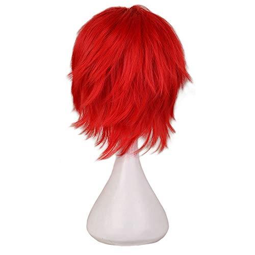 DER Schwarz Weiß Lila Rot Kurzes Haar Cosplay Perücke Männliche Partei 30 cm Hochtemperaturfaser Kunsthaarperücken (Color : Red, Stretched Length : 12inches)