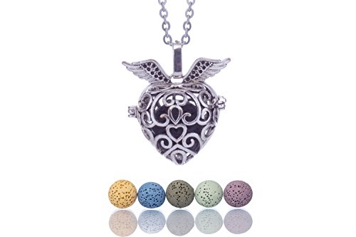 Essential Oil Necklaces for Women Lava Stone Personal Diffuser Heart Locket Pendants for Aromatherapy Oils healing | 24' Extendable Stainless Steel Necklace, Pendant, Beads, Charm, Gift Box by Essenna