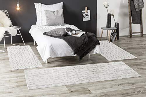 andiamo Webteppich Bolonia Muster modern Öko-Tex 100 Teppich, Set 2X 67x140cm /1x 80x200cm, Polypropylen, Ornament grau, 3 teilig