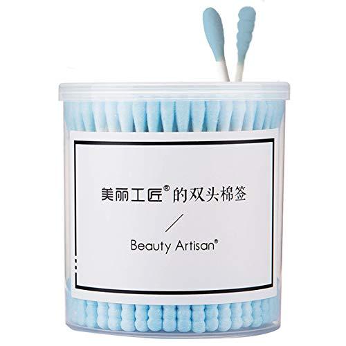 200 Pièces Haute Qualité Beauté Nettoyage Maquillage Bâton Exquis Micro Brosse Coton Bourgeon Pour Bouchons D'oreilles Professionnel Nettoyage Maquillage,Bleu