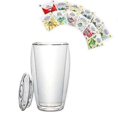 BIO-Teeset: 1x 400ml XL doppelwandiges Glas mit Deckel + 12x BIO-Tee, Teeglas + 12x verschiedene BIO Teebeutel, Probier- und Geschenkset - by Feelino