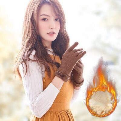 Fall Winter Ladies Cashmere Gloves Female Wool Mitten Gloves Elegant All Match Women Khaki Gloves - (Color: Plus Cashmere Brown, Gloves Size: All Code is Flexible)