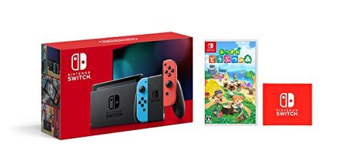 Nintendo Switch 本体 (ニンテンドースイッチ) Joy-Con(L) ネオンブルー/(R) ネオンレッド&あつまれ どうぶつの森 -Switch (【Amazon.co.jp限定】Nintendo Switch ロゴデザイン マイクロファイバークロス 同梱)