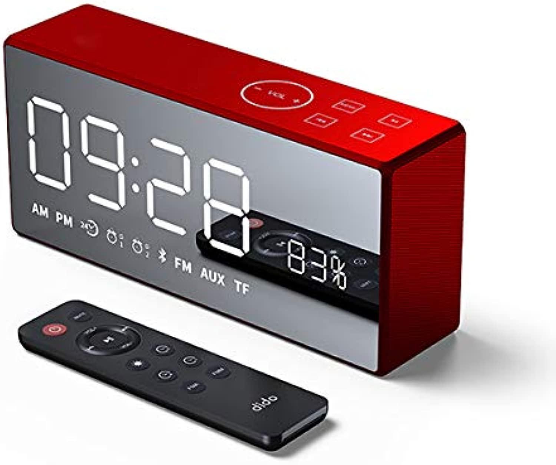 FAY Sveglia con Sveglia Sveglia, Mini Radio Sveglia con Spec o Retro Riautoicabile Senza Fili con Telecouomodo, Display a LED Altoparlante blutooth Hi-Fi Basso,Rosso