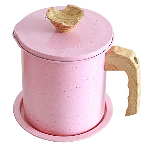 Bacon Grease Container with Strainer-1.4L Oil Storage Grease Keeper Can for Cooking Oil, Frying Oil (1.4l, Pink)