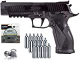 SIG Sauer X-Five Air Pistol with CO2 12 Gram (15 Pack) and 500 Lead Pellets Bundle (Black)
