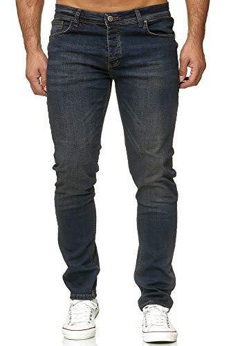 Reslad Jeans Herren Slim Fit Basic Herren-Hose Jeanshose Männer Jeans Hosen Stretch Denim RS-2091 Dunkelblau W32 / L34