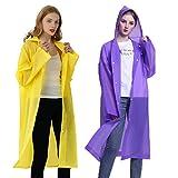 Rain Poncho for Adults Women Men (2 Pack), Reusable Raincoat Waterproof Jacket