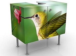 Mobile per lavabo design Hummingbird And Blossom 60x55x35cm, basso, Larghezza: 60cm, regolabile, mobiletto da lavandino, lavandino, mobiletto da lavabo, lavabo, mobiletto, bagno, bagnetto, mobile da bagno