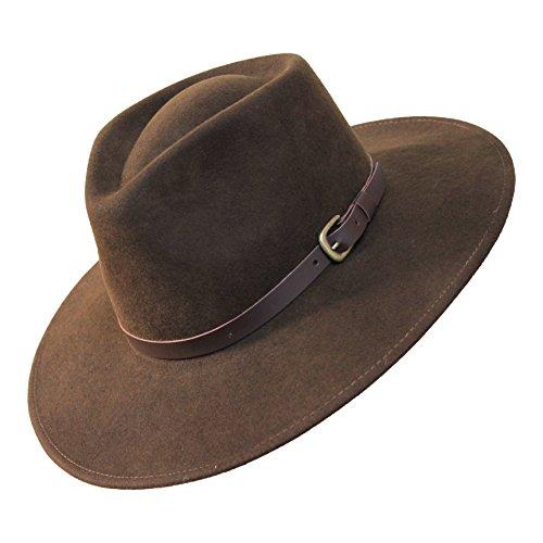 Borges & Scott B&S Premium Lewis - Fedora Hut mit breiter Krempe - 100% Wollfilz - wasserfest - Lederband - 60cm Dunkelbraun