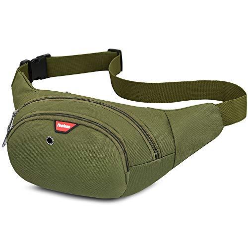 Yooluan wasserdichte Gürteltasche Bauchtasche 4 Reißverschluss Taschen Wandern Outdoor Sport Hüfttasche Urlaub Geld Pouch Pack (Armeegrün)
