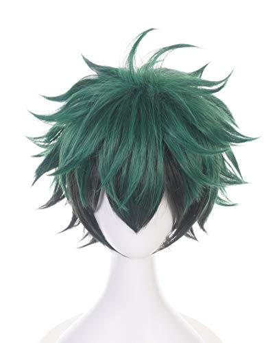 Topcosplay Deku Perücke, Unisex Anime Izuku Midoriya Cosplay Perücke Kurz Grün Schwarz Gemischtes Haar für Halloween, Kostüm, Karneval