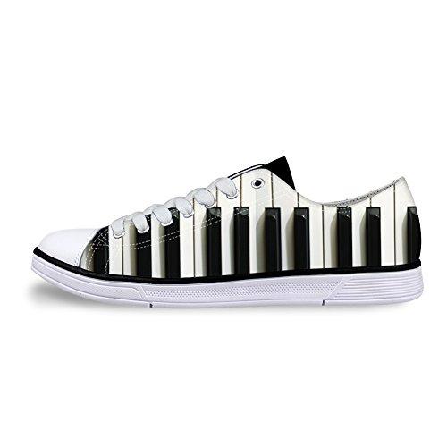 AXGM Unisex Damen Sneakers Low Schick Turnschuhe Sportschuhe Canvas Lace Up Segeltuchschuhe Wanderschuhe Weiße Schwarze Klaviertaste Print Freizeit Schuhe Übergrößen für Jungen CC13 EU 40