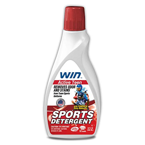 Win Sports Detergent - Active Teen (Red) 1 Bottle - Specially Formulated for Sweaty Workout Clothes - Removes Odor from Running Gym and Activewear Apparel and Football Hockey Uniforms