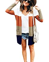 JUNBOON Women's Striped Long Sleeve Open Front Knit Cardigan Casual Pullover Sweater Orange