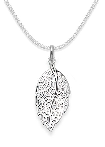 GENUINE 925 Sterling Silver Leaf Necklace on 16' Silver chain - Size: 11mm x 22mm (32mm inc. pendant top). Gift boxed. 8041/16